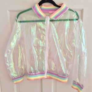 Transparent Holographic Iridescent Rainbow Jacket